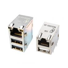 43F/44F Series 10/100 Base-T TAB Up USB Integrated RJ45 Jack With Magnetics