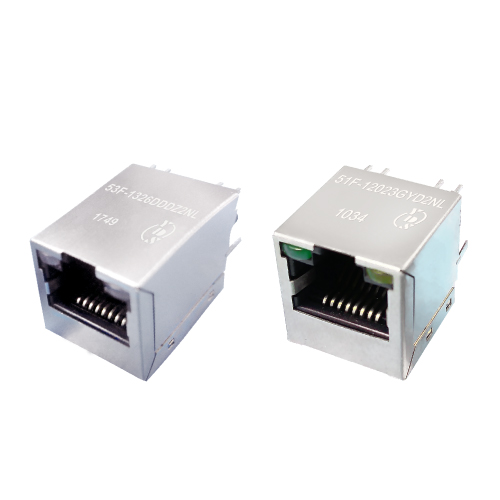 51F/53F Series Single Port 10/100 Base-T TAB Up Vertical RJ45 Jack With Magnetics